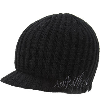 This is an example of a knitted visor beanie like the ones I've been seeing around campus lately. This one is available from PacSun.
