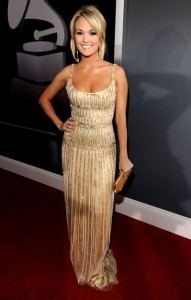 the gown Carrie Underwood wore to walk the red carpet at the Grammys.