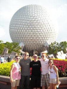 Alicia, Carter, Nick, Adam and Jenny at Epcot! The first official meeting of the posse!